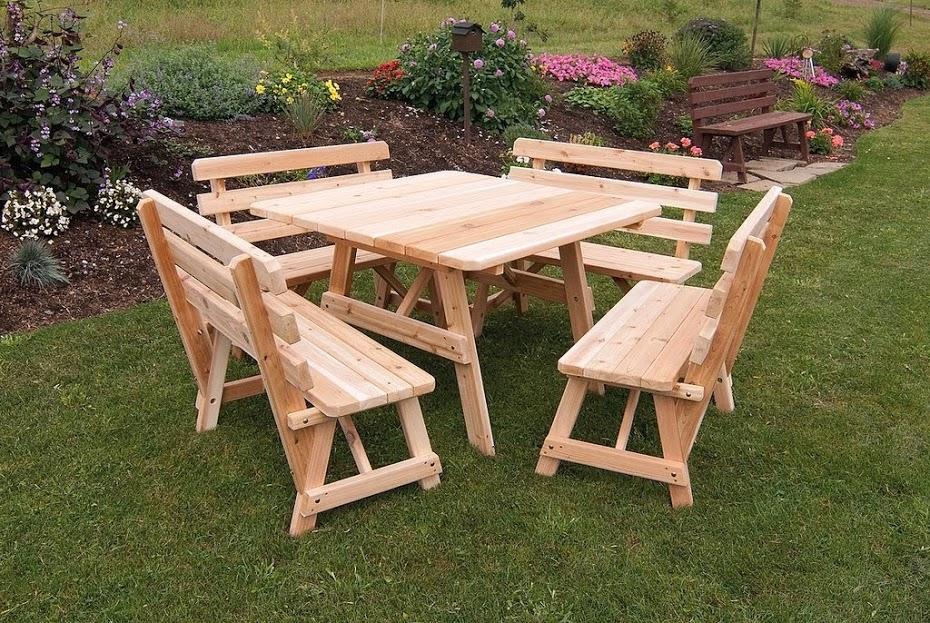meja taman kayu